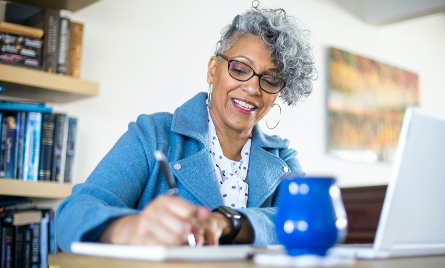 Mature Black Woman Working from Home