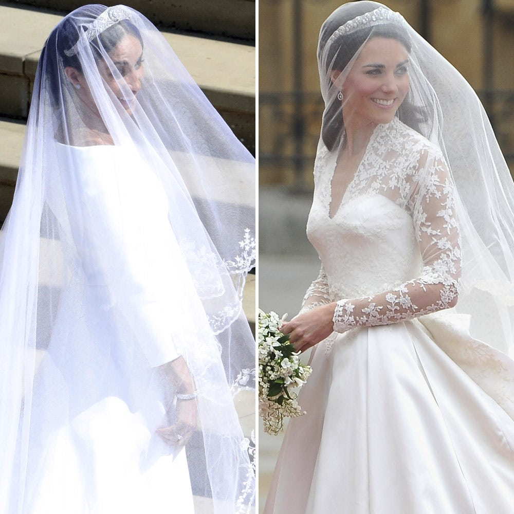 how meghan markle s wedding dress compares to kate middleton s woman s world how meghan markle s wedding dress