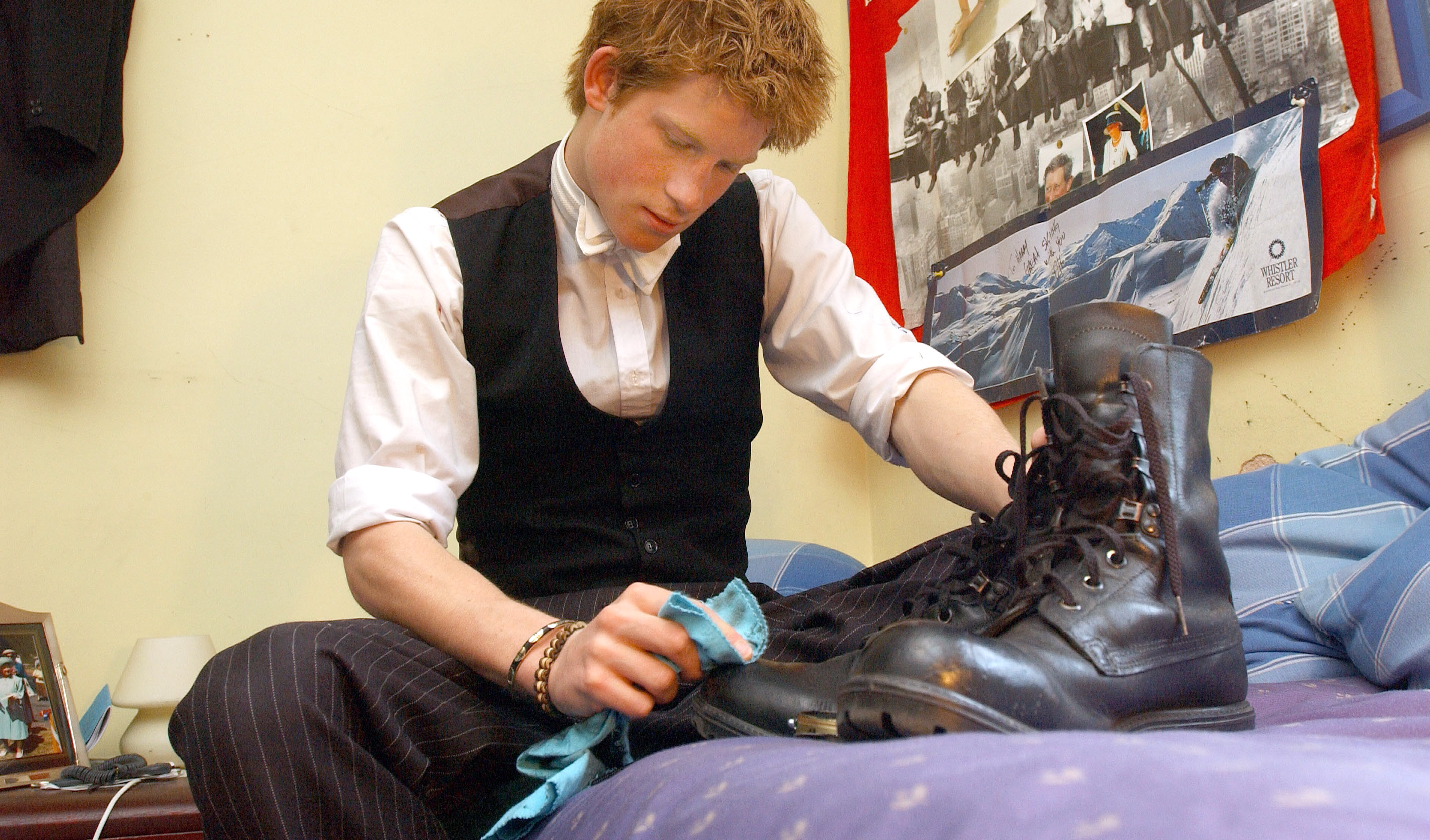 Prince Harry on his bed at Eton