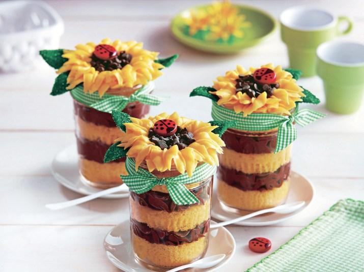 Sunflower Cupcakes In Jars