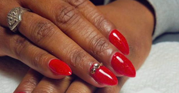 Dark Red Acrylic Nails In Beautiful Manicure Photos