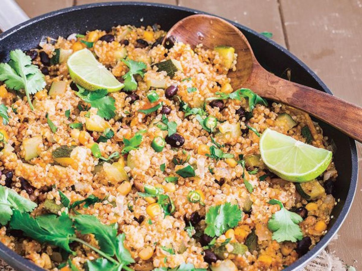 Quinoa Black Bean Cheesy Enchilada Skillet