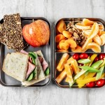 lunch boxes of healthy food