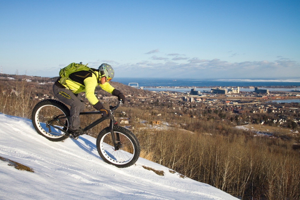 Man fatbiking in Duluth, Minnesota