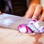 Woman chopping onions