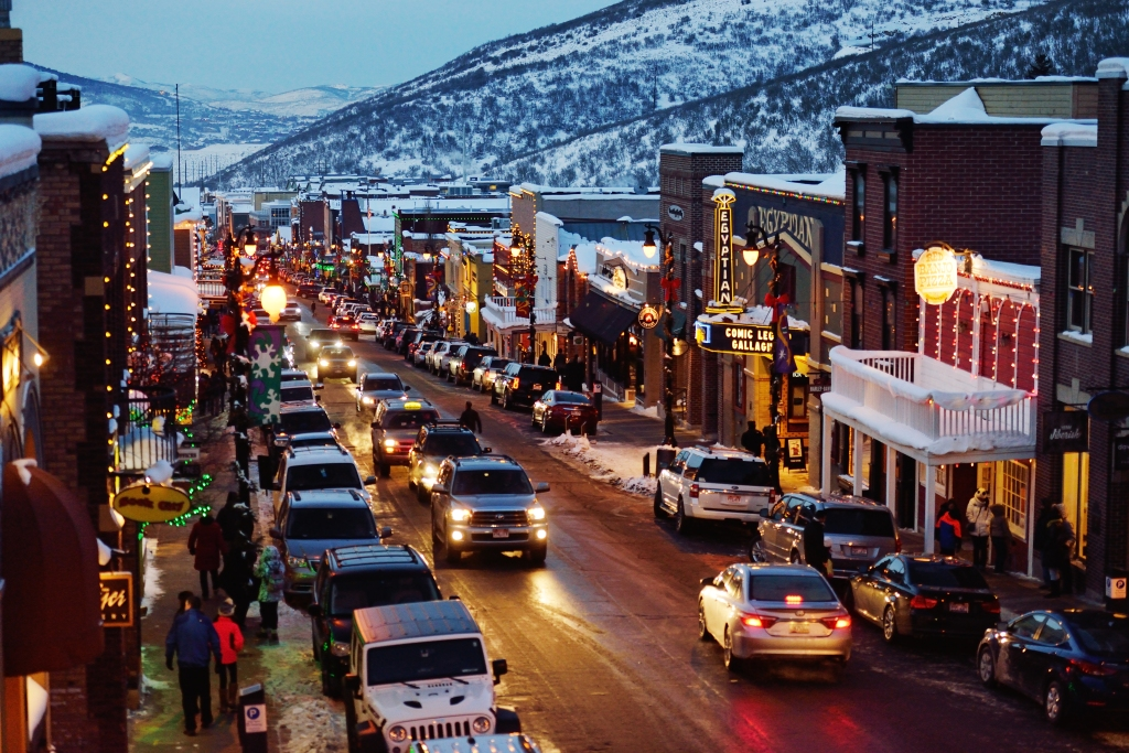 Park City, Utah main street in the evening.