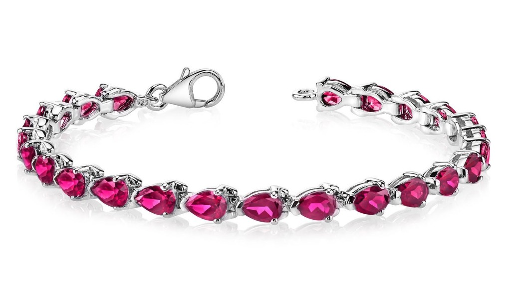 Sterling Silver and Gold Plated Ruby Tennis Bracelet