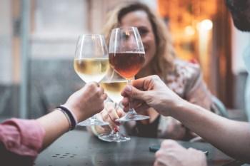 women toasting with wine