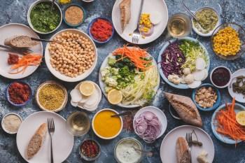 Variation of food vegetable meal dinner table