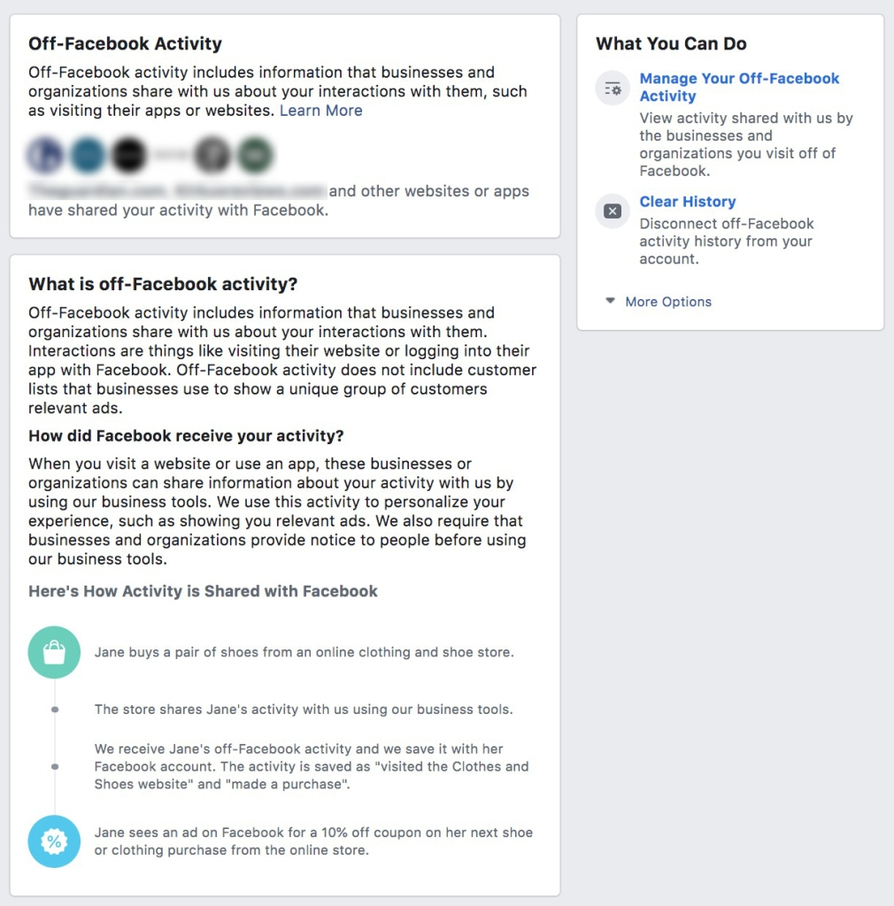 Screencap of Off-Facebook Activity page