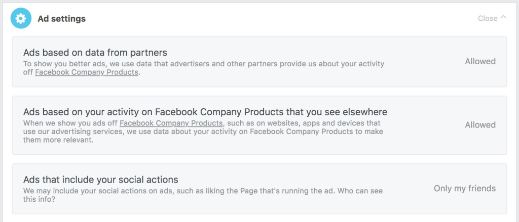 Screencap of Facebook ad settings