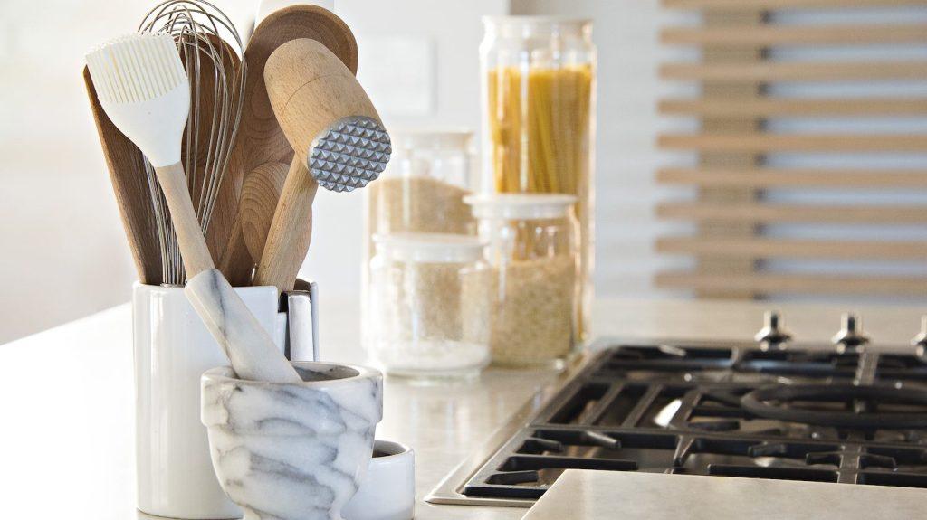 Close-up of kitchen utensils on worktop