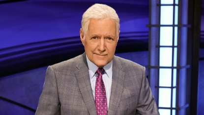 Alex Trebek on Jeopardy! set