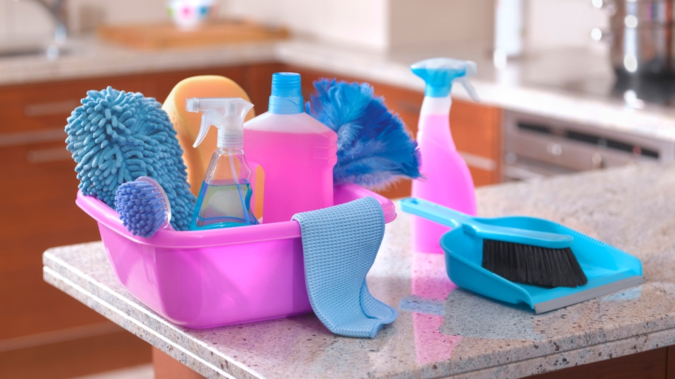 Spring cleaning equipment in kitchen
