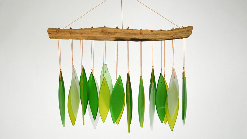 glass spring leaves wind chime