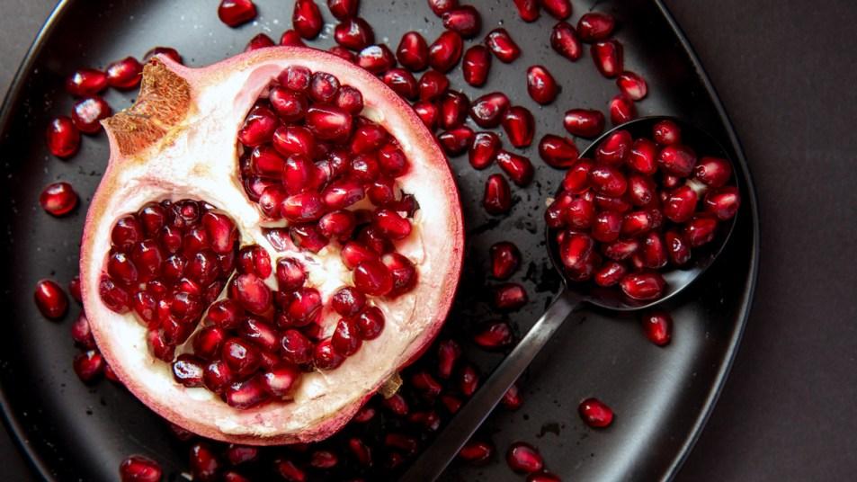 Cut open pomegranate