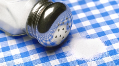 Salt spilled on tablecloth
