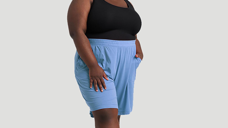 plus size blue lounge shorts