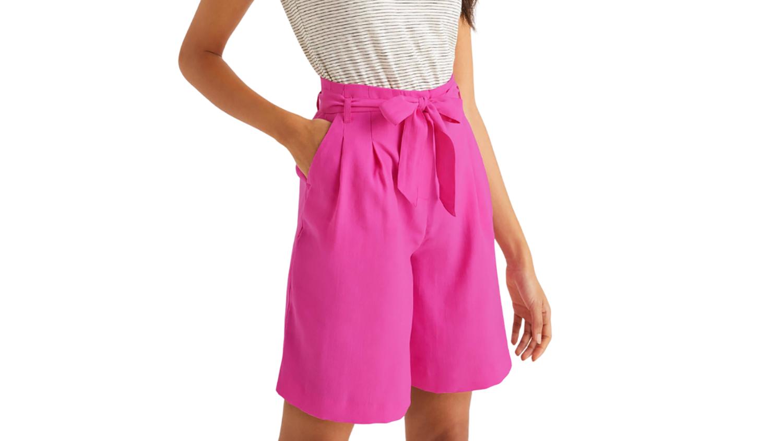 pink boden paperbag waist shorts