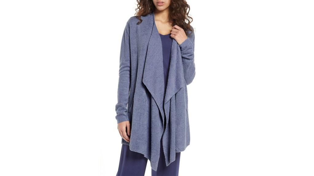 draped denim blue lightweight summer cardigan