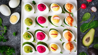 plate of colorful deviled eggs