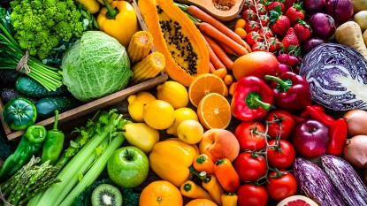 Mixture of colorful fruits and vegetables
