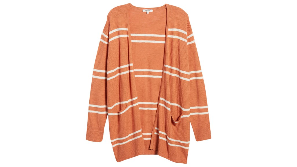 striped orange madewell cardigan