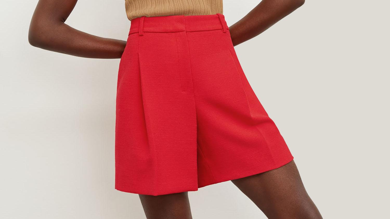 red dressy shorts