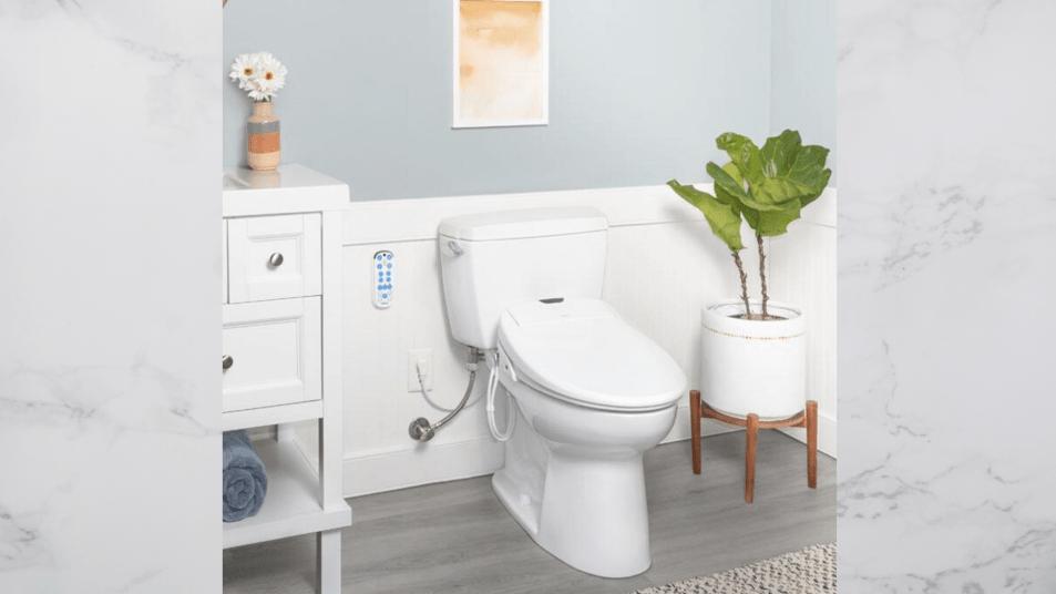 bathroom featuring omigo bidet toilet seat