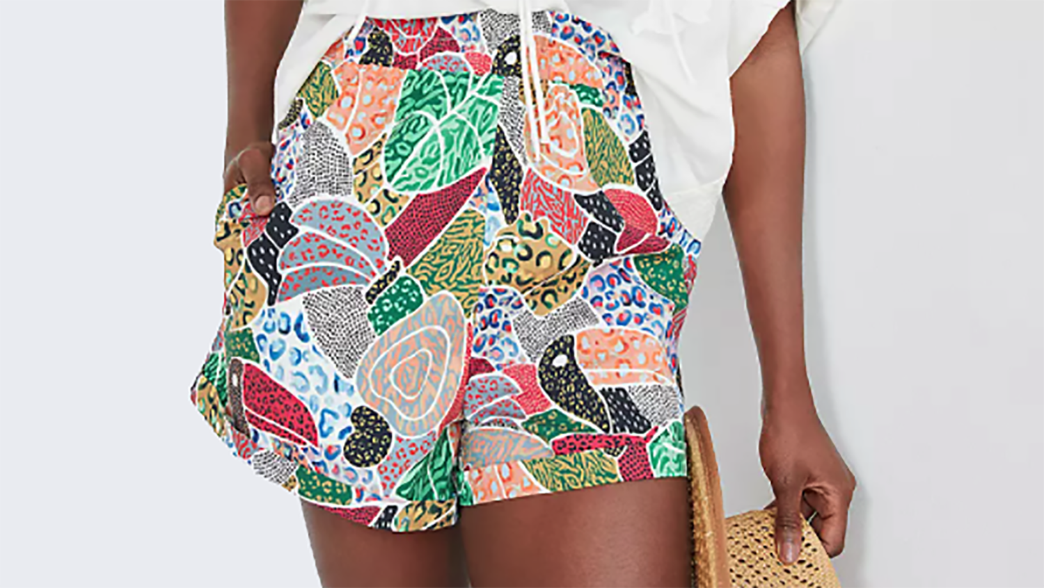 colorful patterned swing shorts