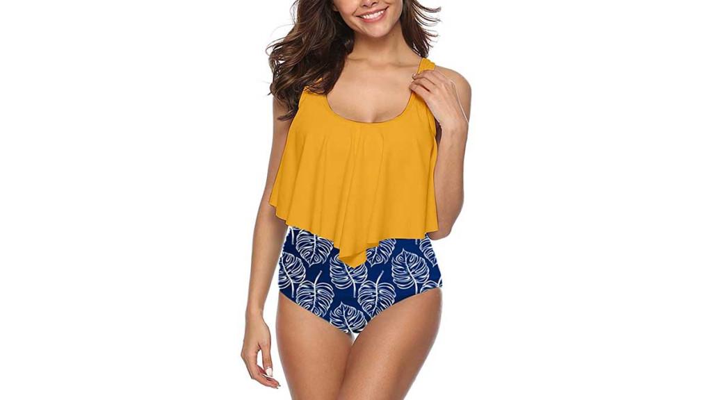 ruffled bikini top and contrasting bottom