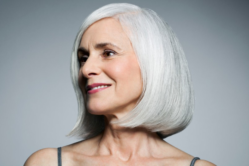 Woman with smooth, wrinkle-free skin