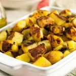 Pan of roasted potatoes