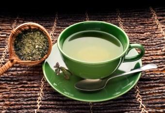 green tea in green cup