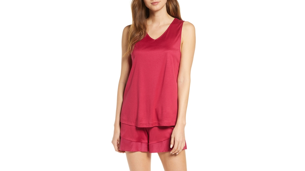 red short silk pajamas