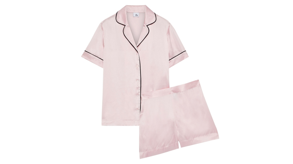short trimmed silk pajamas