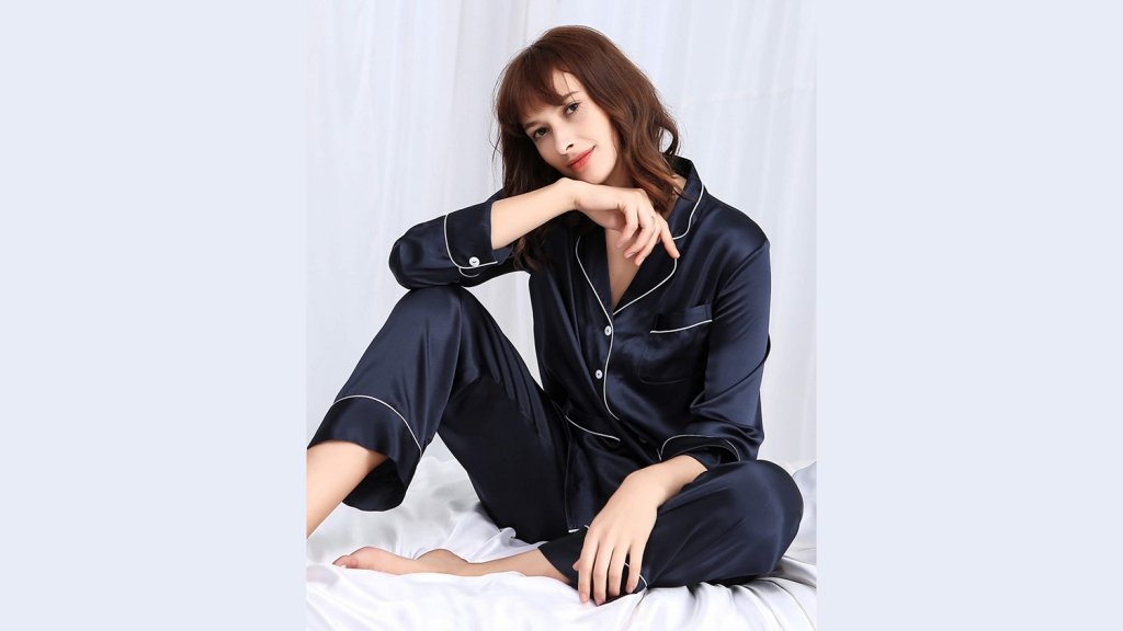 navy menswear inspired silk pajamas
