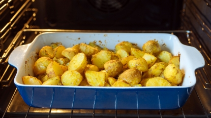 Potatoes roasting in oven