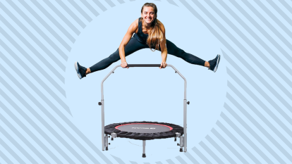woman jumping on mini trampoline