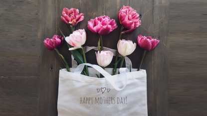 Tulips in a Mother's Day linen bag