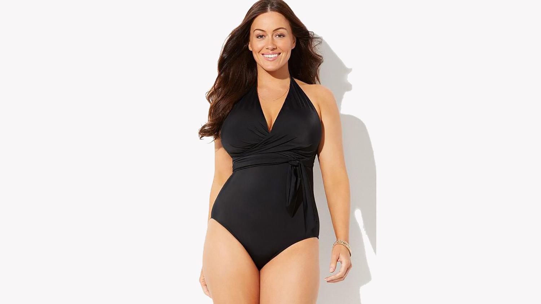 faux wrap halter swimsuit