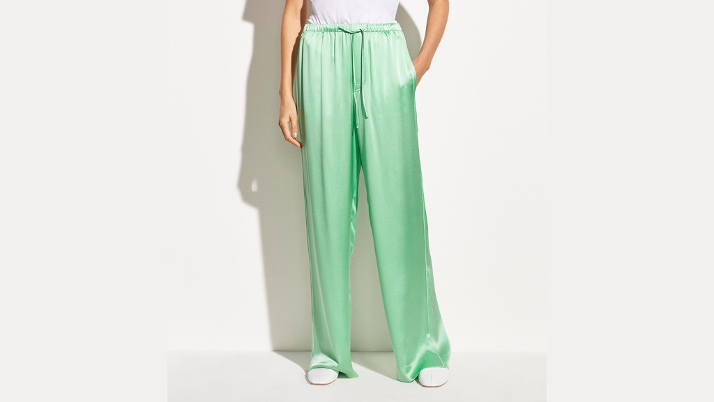 green satin pajamas