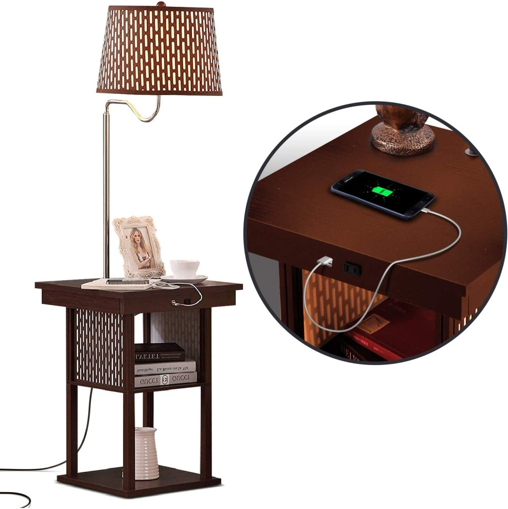 Brightech Madison - Narrow Nightstand with Built In Lamp