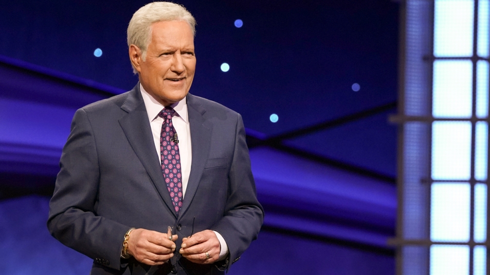 Alex Trebek on Jeopardy set