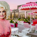 Dolly Parton inset background of White Limozeen rooftop bar patio