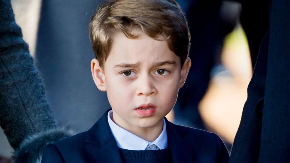Close up of Prince George looking grumpy
