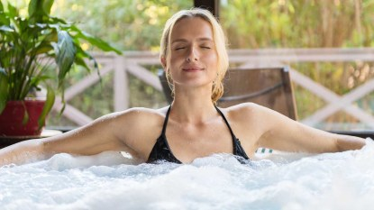woman in an inflatable hot tub