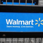 Walmart logo on shopping cart
