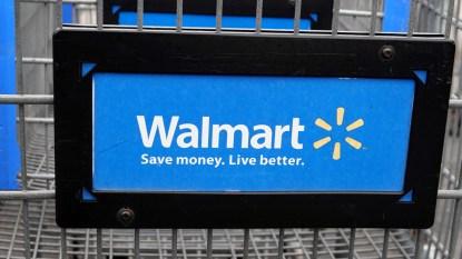 Walmart logo on shopping cart