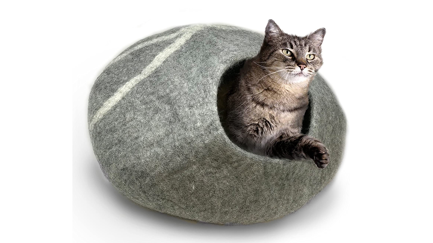 covered wool cat bed